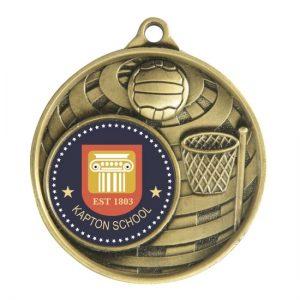 1073C-8BR: Global Medal -Netball + 25mm insert