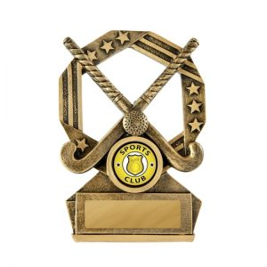 Bronzed Aussie Hockey Trophy With 25mm Centre