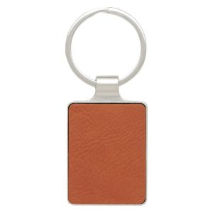 Leatherette Keychain – Rawhide with Chrome
